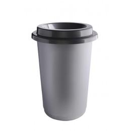 Контейнер с серой емкостью и  воронкообразной крышкой цвета металл