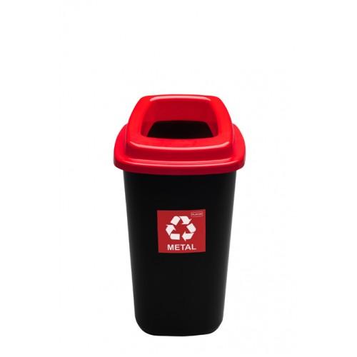 Черный контейнер с красной крышкой с отверстием