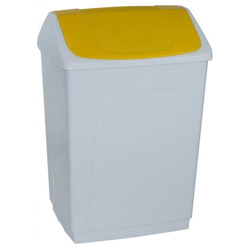 Ведро пластиковое белое с плавающей желтой крышкой