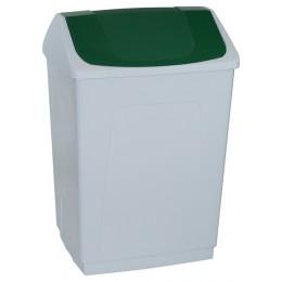 Ведро пластиковое белое с плавающей зеленой крышкой