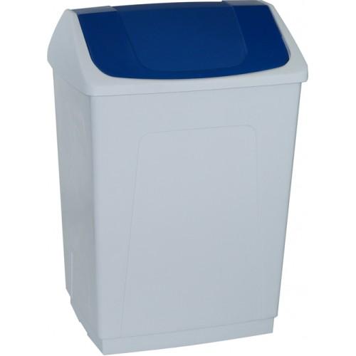 Ведро пластиковое белое с плавающей синей крышкой