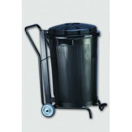 Контейнер пластиковый черный с крышкой с педалью с тележкой на колесах