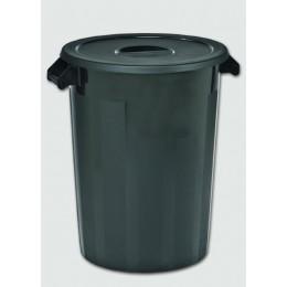 Бак пластиковый черный с крышкой с ручками