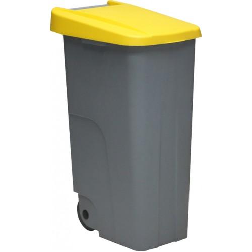 Контейнер для мусора основа серая с ручкой на колесах с желтой крышкой