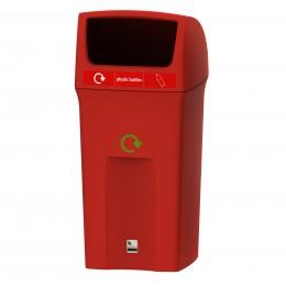 Урна для раздельной сортировки мусора с открытой предподнятой крышкой