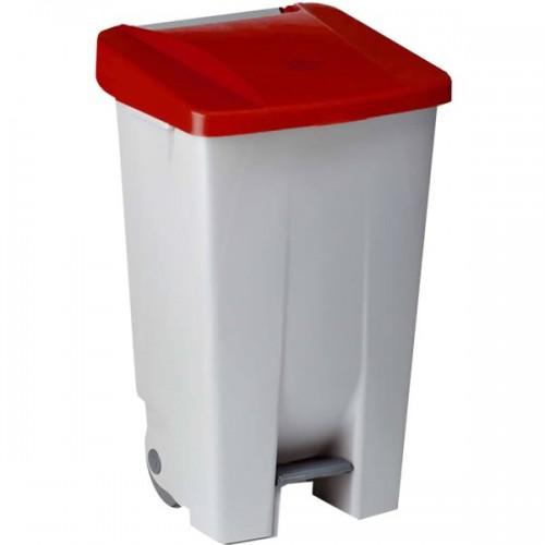 Контейнер пластиковый серый с ручками с красной крышкой с педалью на колесах