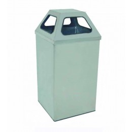Нержавеющее мусорное ведро с крышкой формы пирамиды, объем 79 л.