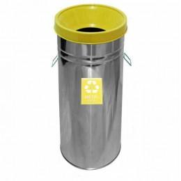 Урна сортировочная из нержавеющей стали, желтая крышка, обьем 96 л.
