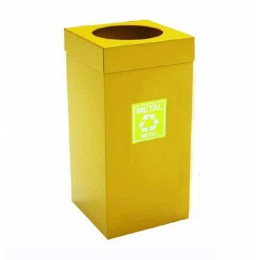 Урна  для сортировки мусора из нержавеющей стали , желтая порошковая окраска, обьем 54 л.