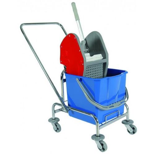 Одноведерная тележка уборочная  с отжимом сьемное ведро 20 л. металлический хромированный каркас поворотные колеса