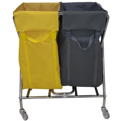 Тележка для гостиниц прачечных для белья и для мусора, 2 раздельных мешка, общий объем 300 л.