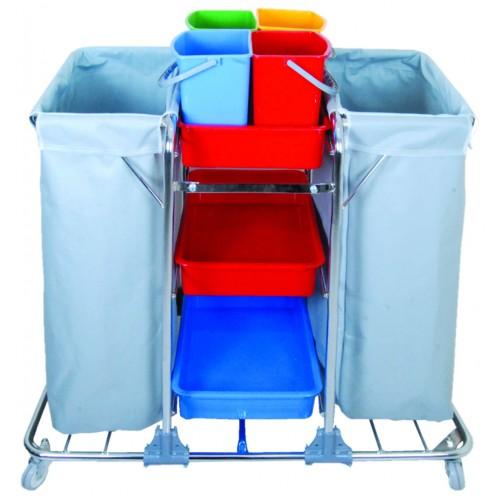Гостичная тележка многофункциональная 2 мешка для белья или мусора, лотки 3 шт. цветные ведра 4х5л. поворотные колеса 80мм.