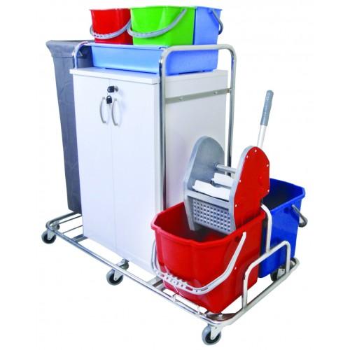 Уборочная тележка многофункциональная шкаф с полками с замком отжим с ведрами 2х20 л. лоток, цветные ведра 4х5л. мешок сьемны для мусора или белья поворотные колеса 80мм.