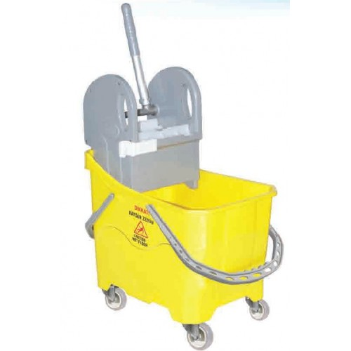 Ведро для профессиональной уборки пластиковое с отжимом емкость 24 л. на поворотных колесах