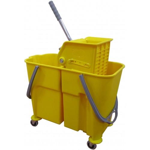 Ведро для профессиональной уборки пластиковое емкость 2х18 л. с отжимом на поворотных колесах