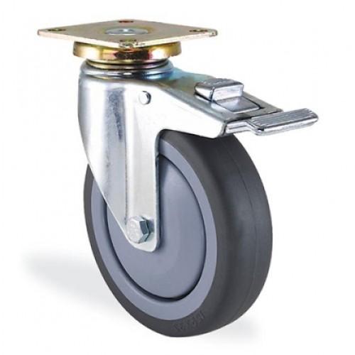 Колесо поворотное бесшумное с тормозом диаметр 200 мм