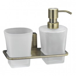 Держатель стакана для зубных щеток и дозатора для жидкого мыла WasserKRAFT Exter K-5289