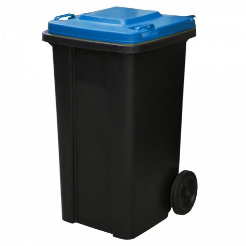 Контейнер бак мусорный 120 л. пластиковый для раздельного сбора мусора на колесах с крышкой и ручкой