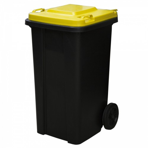 Мусорный контейнер бак 120 л. пластиковый для раздельного сбора мусора на колесах с крышкой и ручкой