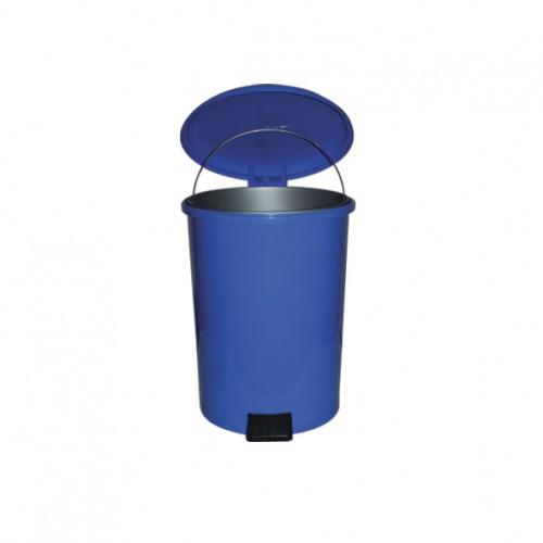 Мусорный бак пластиковый круглый с крышкой с педалью с внутренним ведром