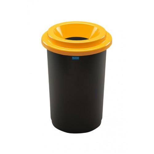 Контейнер для раздельного сбора мусора черная емкость и желтая воронкообразная крышка
