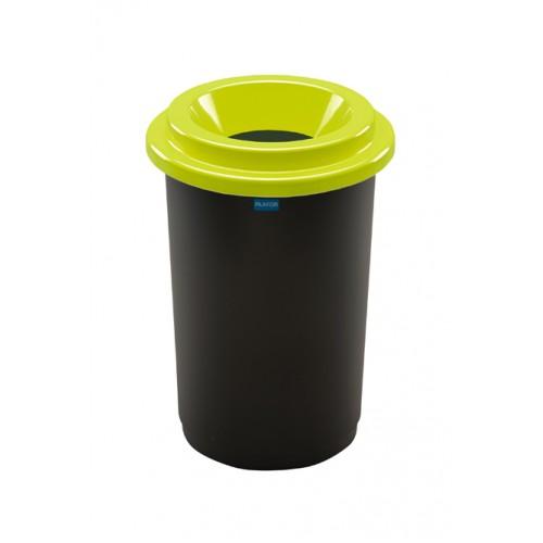 Бак мусорный для раздельного сбора отходов черная емкость и зеленая воронкообразная крышка