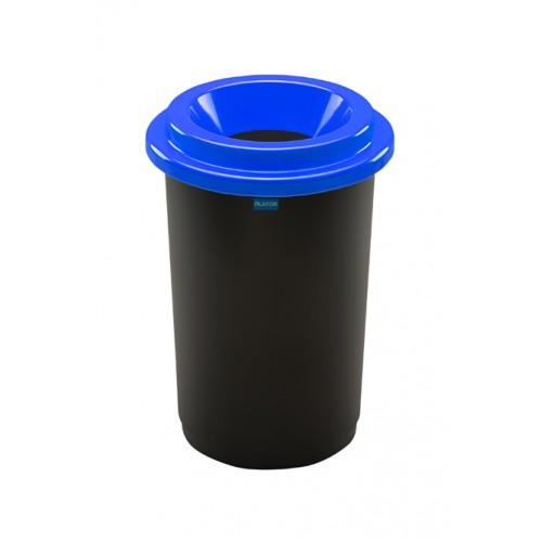 Контейнер для раздельного сбора мусора черная емкость и синяя воронкообразная крышка