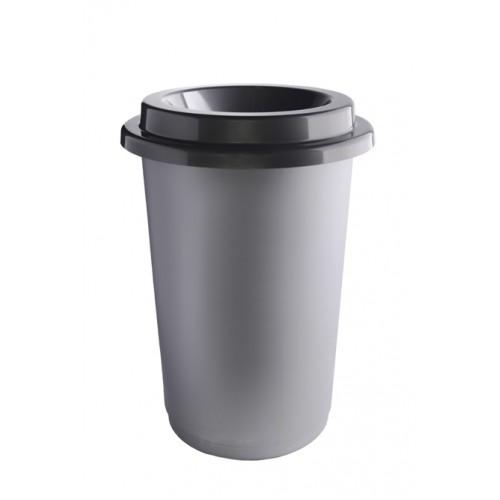 Ведро для раздельного сбора мусора серая емкость и  воронкообразная крышка цвета металл