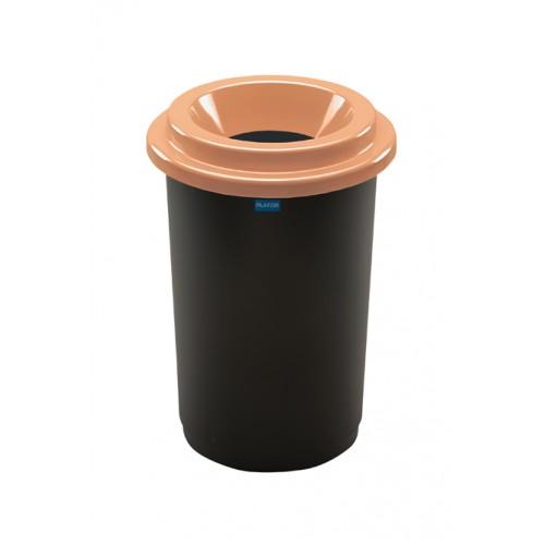 Ведро для раздельной сбора отходов черная емкость и коричневой воронкообразной крышкой
