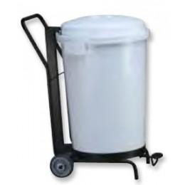 Контейнер пластиковый белый с крышкой с педалью с тележкой на колесах