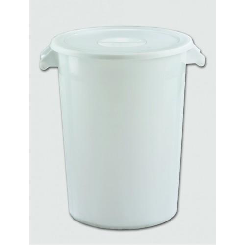 Бак пластиковый белый с крышкой с ручками