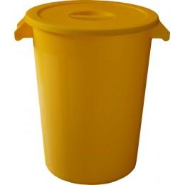 Бак пластиковый желтый с крышкой с ручками