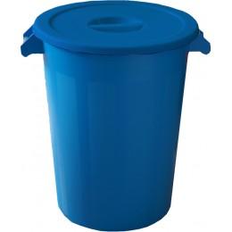 Бак пластиковый синий с крышкой с ручками