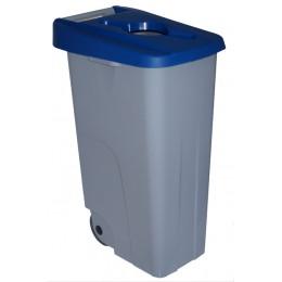 Контейнер для раздельного сбора мусора серый на колесах с синей крышкой с ручкой