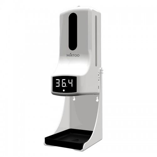 Сенсорный диспенсер с поддоном для антисептика с бесконтактным измерением температуры MIRTOO K9 Pro спрей 1000 мл