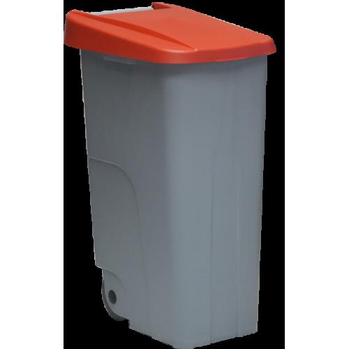Контейнер для мусора основа серая с ручкой на колесах с красной крышкой