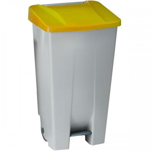 Контейнер пластиковый серый с ручкой с желтой крышкой с педалью на колесах