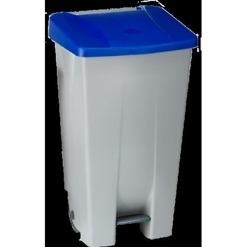 Контейнер пластиковый серый с ручкой с синей крышкой с педалью на колесах