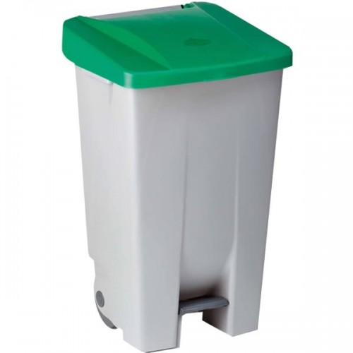 Контейнер пластиковый серый с ручкой с зеленой крышкой с педалью на колесах