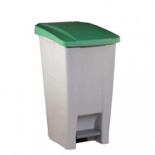 Бак мусорный пластиковый серый с ручкой с зеленой крышкой с педалью