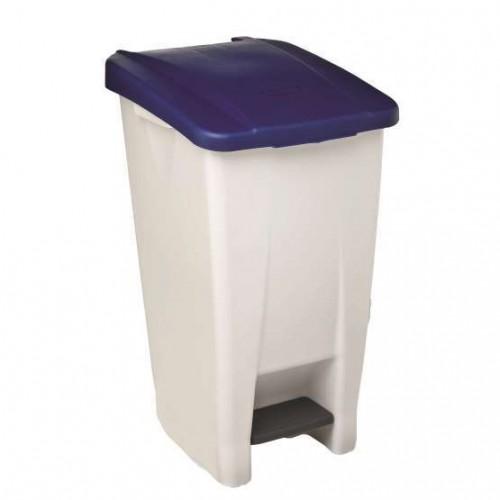 Бак мусорный пластиковый серый с ручкой с синей крышкой с педалью