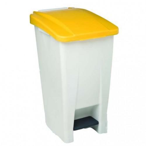 Бак мусорный пластиковый серый с ручкой с желтой крышкой с педалью