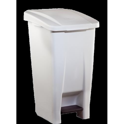 Бак мусорный пластиковый белый с ручкой с крышкой с педалью