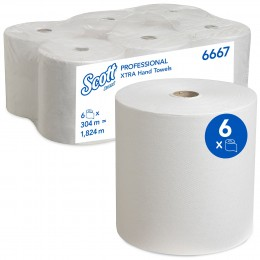 Полотенца бумажные в рулоне Kimberly Clark Scott Xtra премиум-качества 6667 1-слойные 6 рулонов по 304 метра