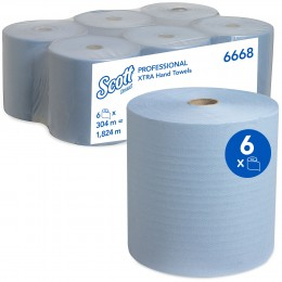 Полотенца бумажные в рулоне Kimberly Clark Scott Xtra 6668 1-слойные 6 рулонов по 304 метра