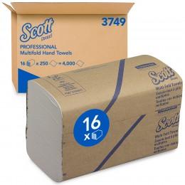 Полотенца бумажные листовые Kimberly Clark Scott MultiFold 3749 H2 Z-сложения 1-слойные 16 пачек по 250 листов