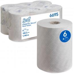 Полотенца бумажные в рулоне Kimberly Clark  Scott Essential Slimroll 6695 1-слойные 6 рулонов по 190 метров