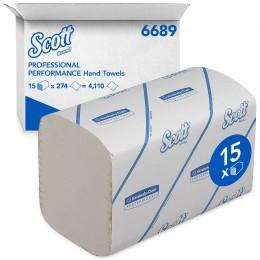 Полотенца бумажные листовые Kimberly Clark Scott Perfomance 6689 H2 Z-сложения 1-слойные в пачке по 274 листа