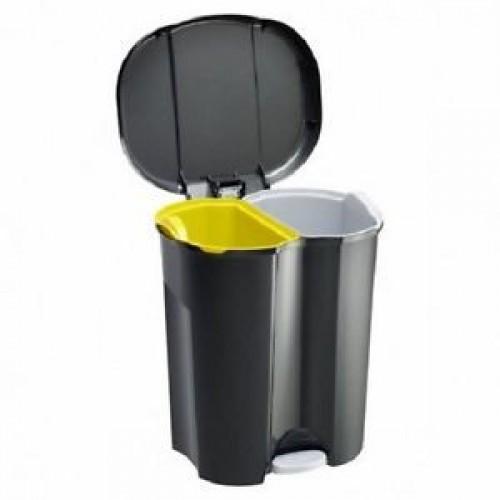 Мусорное ведро Rotho DUO 20 л для раздельного сбора отходов 2 секции с педалью и крышкой