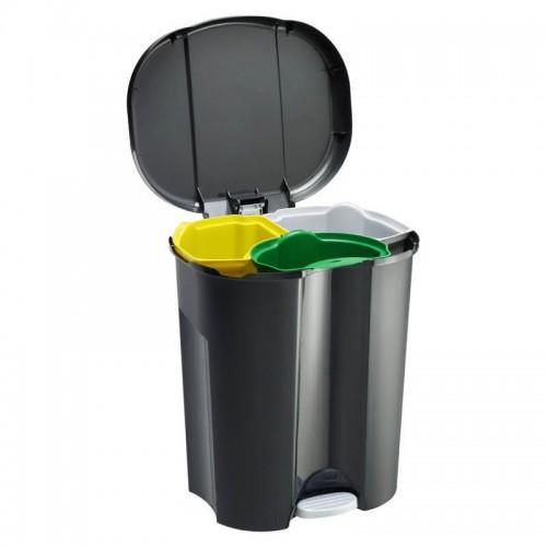 Мусорное ведро Rotho TRIO 40 л с педалью и крышкой 3-х секционное для раздельного сбора мусора